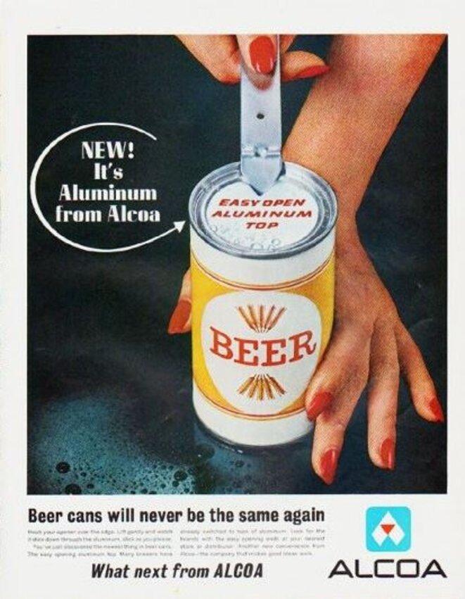Publicité américaine de 1963 pour les emballages de bière en aluminium. © Alcoa