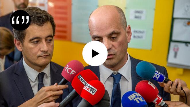 Gérald Darmanin et Jean-Michel Blanquer en 2017. © Philippe Huguen / AFP