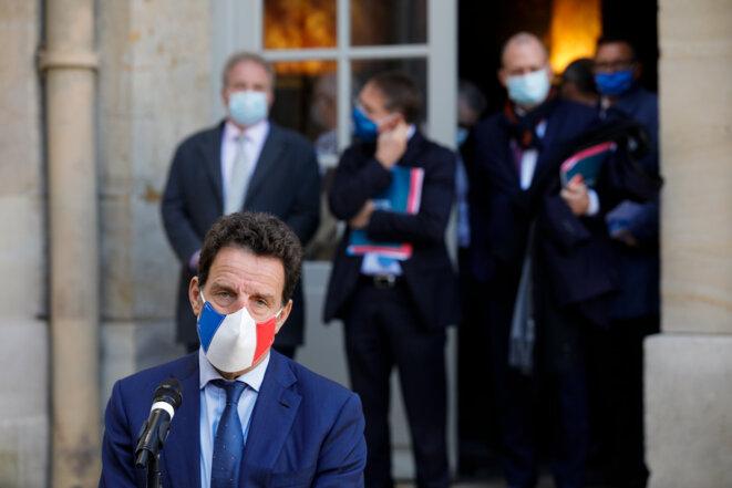 Geoffroy Roux de Bézieux, président du Medef, à Matignon, le 26 octobre. © GEOFFROY VAN DER HASSELT / AFP