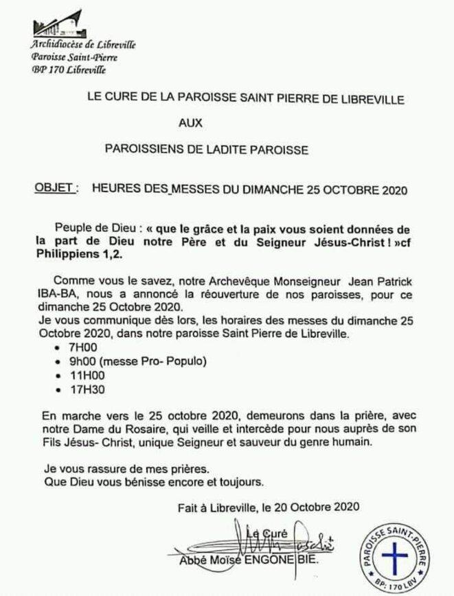 20 octobre 2020 : appel à l'ouverture des lieux de culte par le clergé