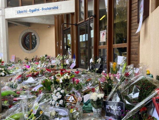 L'entrée du collège du Bois d'Aulne de Conflans-Sainte-Honorine, le 20 octobre 2020. © IR / Mediapart
