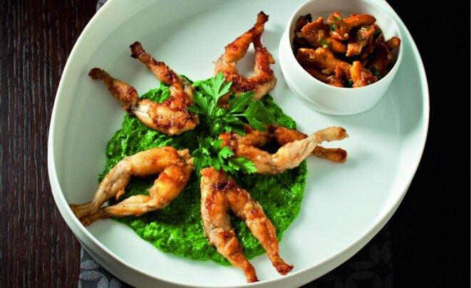 cuisses de grenouilles à la crème de persil © https://www.academiedugout.fr/recettes/cuisses-de-grenouille-a-la-creme-de-persil_7293_2
