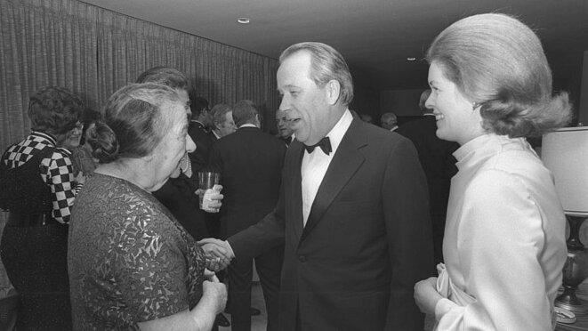 "Israeli Prime Minister Golda Meir with Sen. Henry ""Scoop"" Jackson during a reception at Israeli Ambassador to the United States Yitzhak Rabin's residence in Washington, D.C. © Moshe Milner/GPO"
