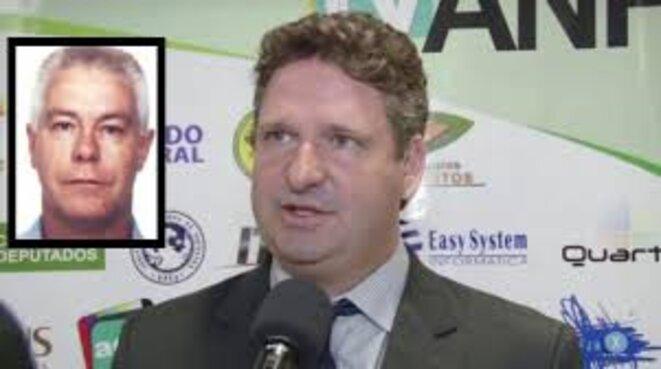 A droite, Eudes Tarciso de Aguiar (DEM, droite), ex-maire de Brasnorte (Mato Grosso) et Luiz Carlos da Rocha, dit «Cabeça Branca». © DR