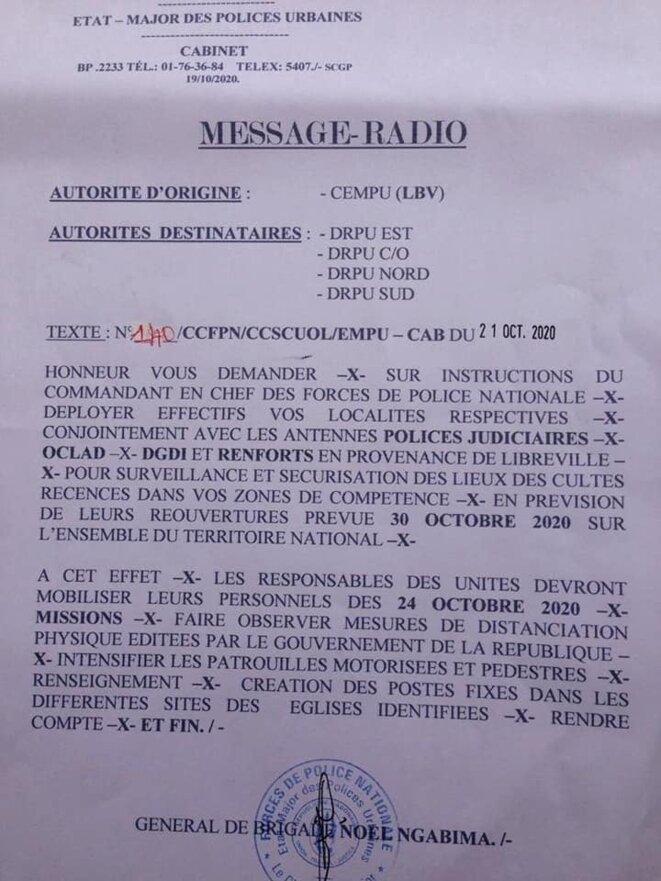 Menace du gouvernement gabonais envers le peuple et le clergé