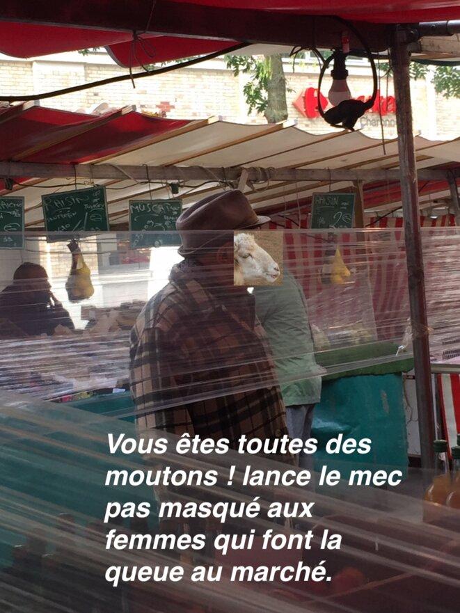 Au marché de Charonne, un pépé pas masqué traite de moutons les clientes qui attendent d'être servies. © Kelly Cogswell