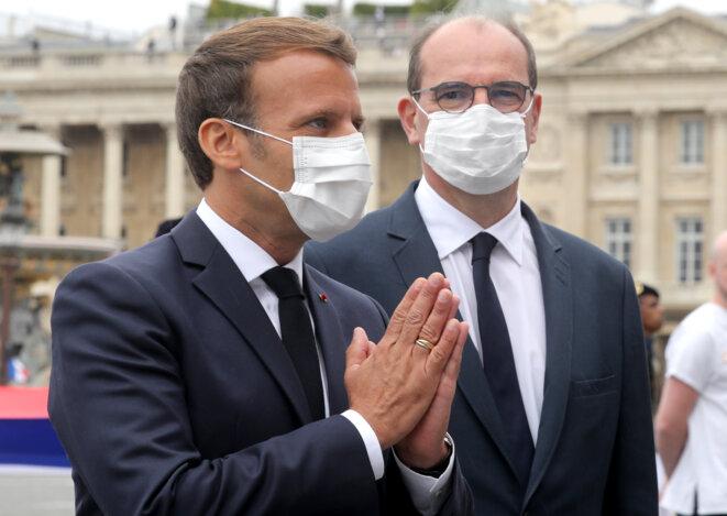 Emmanuel Macron et Jean Castex, le 14 juillet 2020. © Ludovic MARIN / AFP