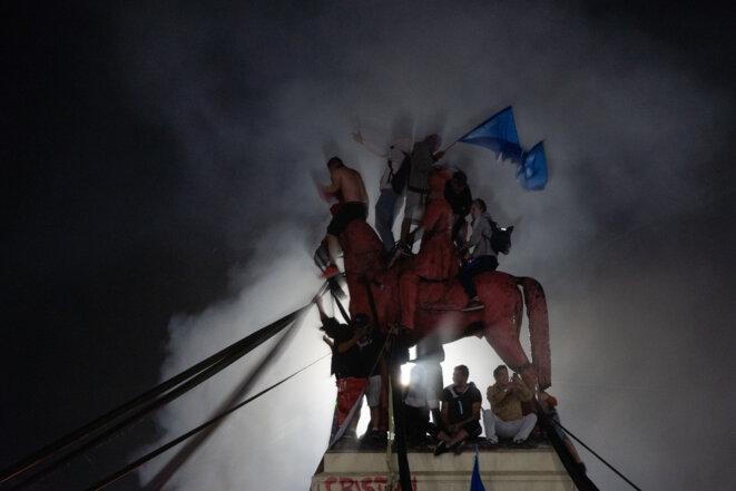 Les Chiliens fêtent le «oui» au référendum, Plaza Italia, 25 octobre 2020. © Matias Basualdo / NurPhoto via AFP