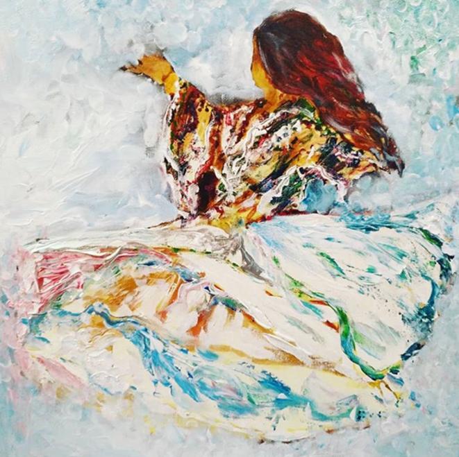 """""""Liberté"""". Peinture de Bahia Kiared."""