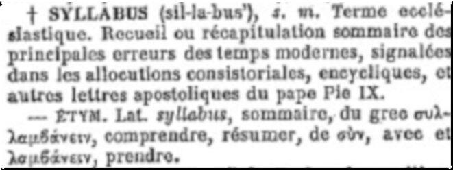 Article «Syllabus» du Dictionnaire de la langue française d'Émile Littré. © Copie d'écran de l'édition originale (domaine public) sur le site BNF/Gallica.