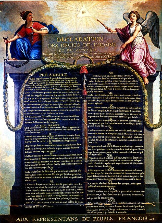 «Représentation de la Déclaration des Droits de l'Homme et du Citoyen de 1789. La Monarchie, tenant les chaînes brisées de la Tyrannie, et le génie de la Nation, tenant le sceptre du Pouvoir, entourent la déclaration» © Jean-Jacques-François Le Barbier, Musée Carnavalet (don de G. Clemenceau en 1896)/Wikimedia Commons. Domaine public