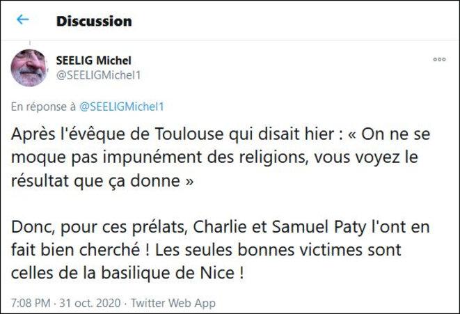 Tweet de Michel Seelig (31/10/2020). Copie d'écran.