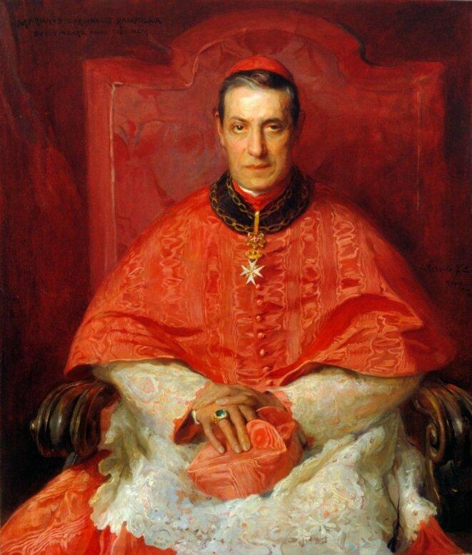 Le cardinal Rampolla, victime d'une «exclusive» (droit de veto) de l'empereur d'Autriche en 1903, ne put être élu pape (portrait de 1903).. © Philip Alexius de László / Wikimedia Commons, domaine public