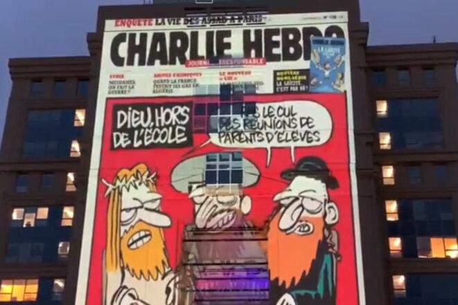 Une des images projetées sur les hôtels de ville de Montpellier et Toulouse