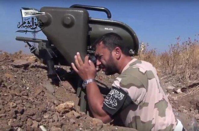 Djihadiste syrien équipé d'un missile MILAN de fabrication française