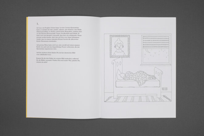 Lucy is seek, a coloring book, Rose Rosen, commissionne and produced by steririscher herbst '20 © Clara Wildberger