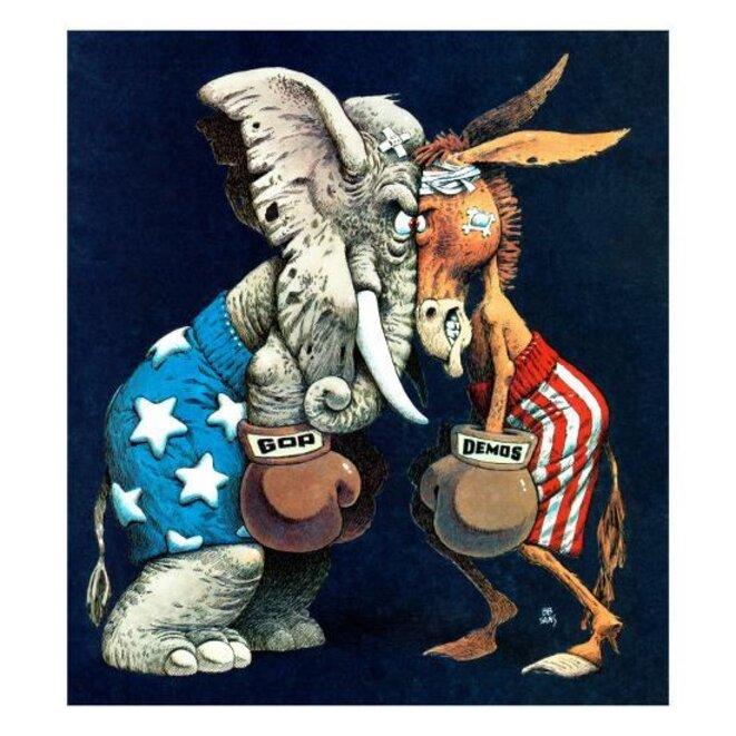 L'éléphant et l'âne, symboles respectifs des partis républicain et démocrate. © DR