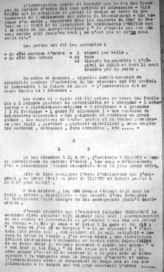 Rapport du Général Dagnan du 5 décembre 1944 (ANOM)