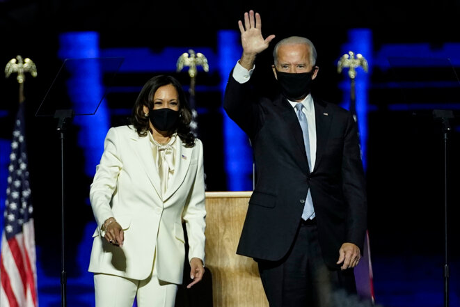 Joe Biden et Kamala Harris après leur victoire. © Andrew Harnik-Pool/Getty Images/AFP