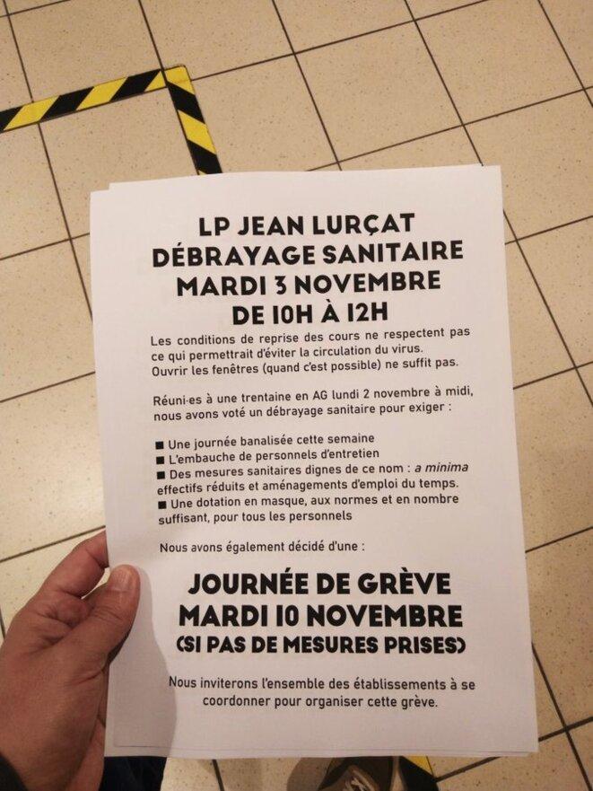 Débrayage sanitaire au LP Jean Lurçat de Fleury-les-Aubrais (45) © T. R.