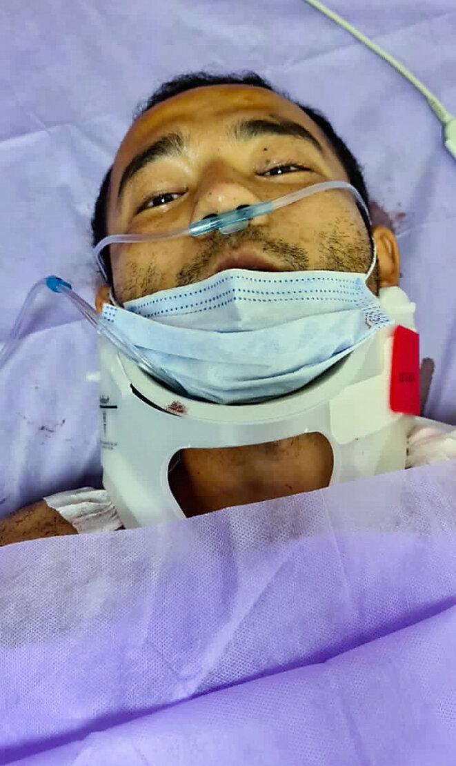 Yusufjan Amet se rétablit dans son lit d'hôpital à Istanbul, le 3 novembre 2020. RFA