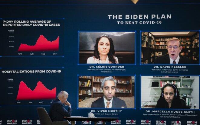 Joe Biden participe à un briefing sur le Covid le 28 octobre 2020. © DREW ANGERER/GETTY IMAGES NORTH AMERICA/AFP