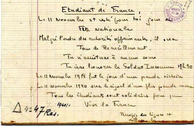 Tract manuscrit d'appel au 11 novembre 1940. Coll. La contemporaine.