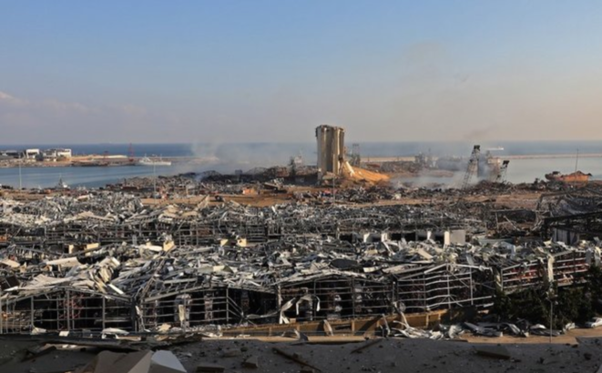 The scene of the devastated port of Beirut following the deadly exlosion of August 4th. © AFP