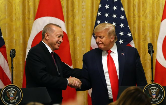 Erdogan et Trump à la Maison Blanche le 13 novembre 2019. © Anadolu Agency via AFP