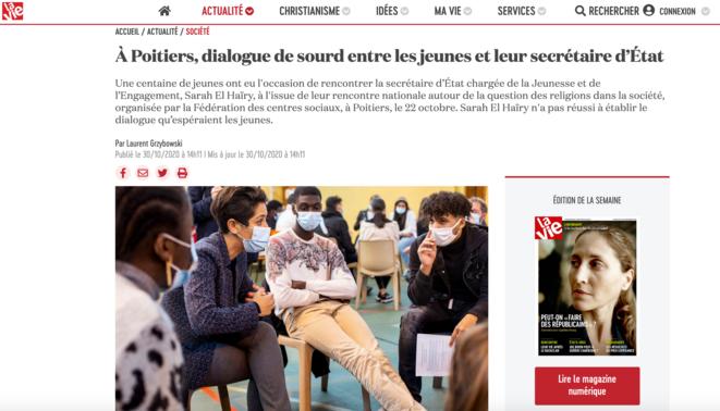 © Capture d'écran de l'article de La Vie