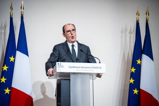 Conférence de presse de Jean Castex, le 12 novembre. © AFP