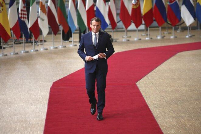 E. Macron lors d'un conseil européen en juillet 2020. © Francisco Seco/POOL/AFP