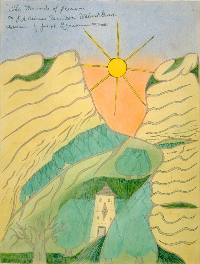 Joseph Yoakum, The Mounds of Pleasure/on JA Brimms  Farm Near Walnut Grove..., 1970  Encre et pastel sur papier, 39 x 30 cm, © Richard et Ellen Sandor Family Collection