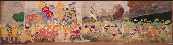 Henry Darger, Storm brewing. This is not strawberry the little girl is carrying   Entre 1930 et 1972, décalque, aquarelle et collage sur papier, 77 x 317 cm © Kiyoko Lerner/ 2020, Prolitteris, Zurich Photo : AN – Collection de l'Art Brut, Lausanne, Photo : AN – Collection de l'Art Brut, Lausanne