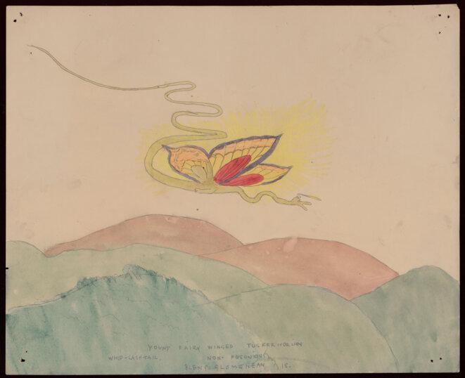 Henry Darger, Young Fairy winged tusker horian whid-  lash-tail, entre 1930 et 1972  Aquarelle et mine de plomb, 35,5 x 43 cm © Kiyoko Lerner/ 2020, Prolitteris, Zurich Photo : AN – Collection de l'Art Brut, Lausanne