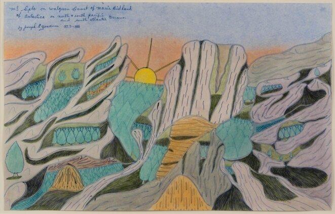 Joseph Yoakum, Mr. Seple on Walgreen on Marie Birdland, 3 octobre 1969,  Encre, crayon et pastel sur papier, 30 x 47,6 cm, © Collection Robert A Roth