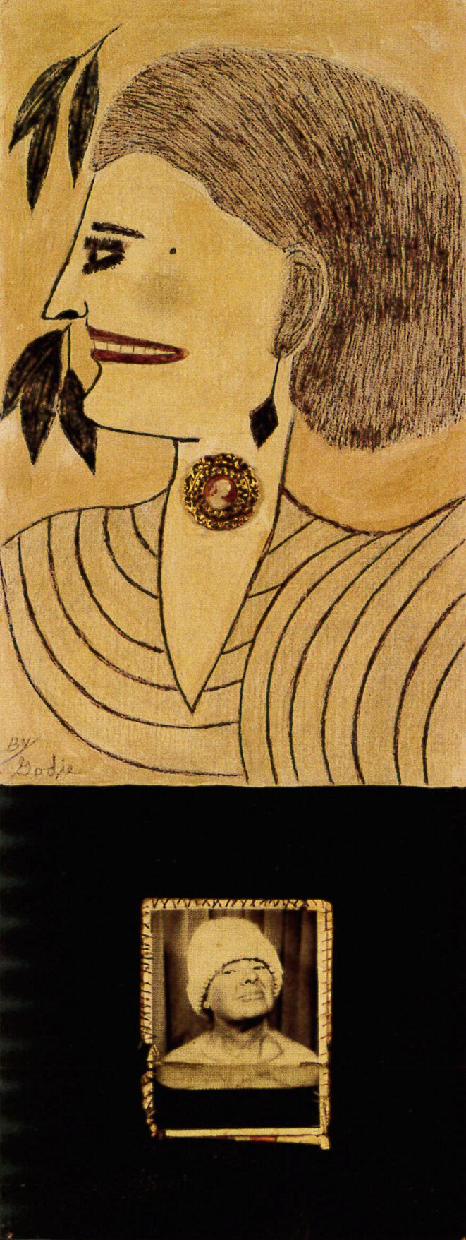 Lee Godie, Smiles, c. 1970-1975 Mixed media et tirage argentique sur toile, 66 x 27.5 cm © Collection Eugenie et Lael Johnson