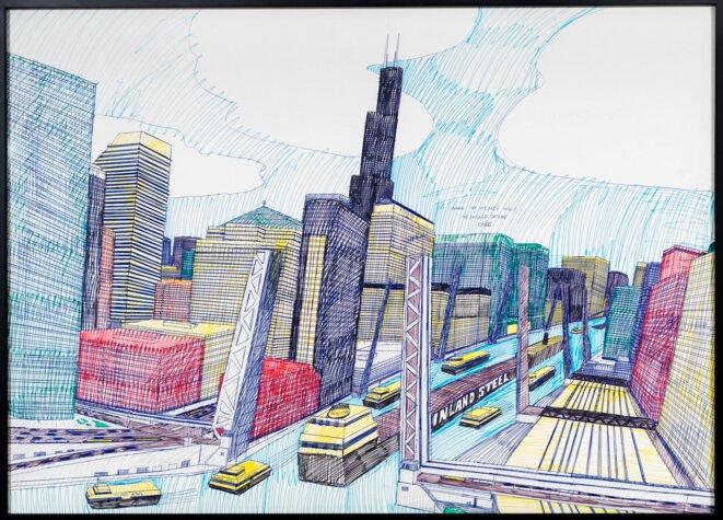 Wesley Willis The Chicago Skyline, Sears Tower, Chicago River..., 1986 Stylo à bille et feutre sur carton, 71 x 99 cm © Collection Rolf et Maral Achilles