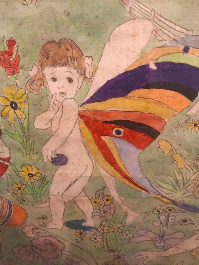 Henry Darger, fillette papillon, entre 1930 et 1972  Aquarelle et mine de plomb, © Kiyoko Lerner/ 2020, Prolitteris, Zurich Photo : AN – Collection de l'Art Brut, Lausanne