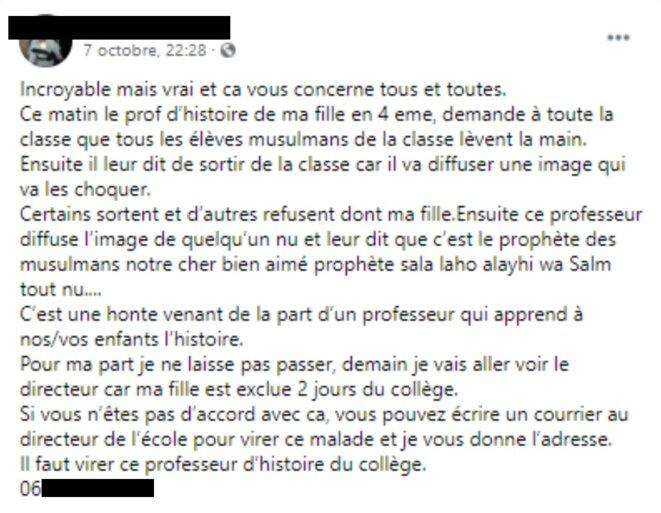 Capture d'écran du premier message relayé par Brahim C. le 7 octobre sur sa page Facebook au sujet de la polémique sur le cours de M. Paty.