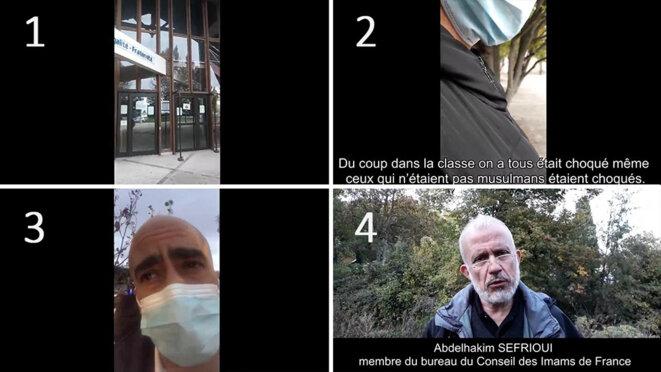 Capture d'écran des 4 séquences de la vidéo publiée par Abdelhakim Sefrioui.