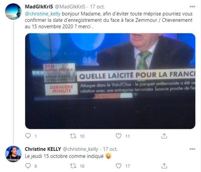 Capture d'écran de l'échange sur Twitter entre Christine Kelly et un internaute sur la date d'enregistrement de l'émission du 15 octobre 2020..