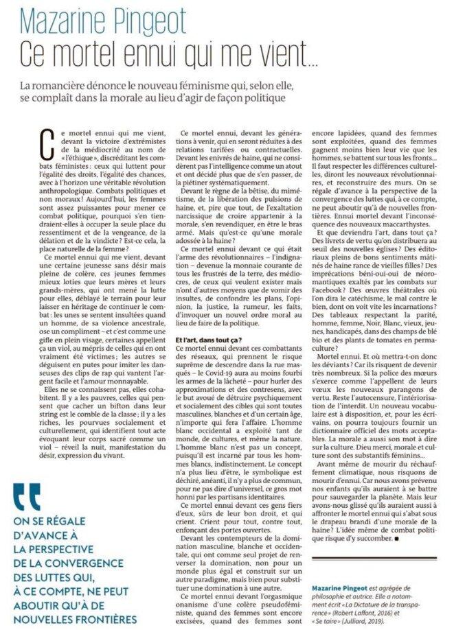 Mazarine Pingeot, Le Monde 28 août 2020