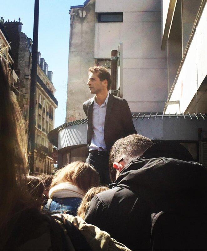 A l'entrée du centre René-Cassin, au cours d'une protestation contre Parcousup, avril 2018