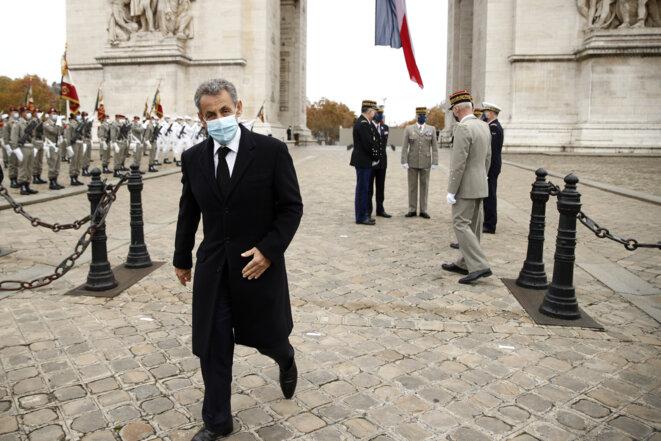 Nicolas Sarkozy aux cérémonies du 11-Novembre, à Paris. © Yoan VALAT / POOL / AFP