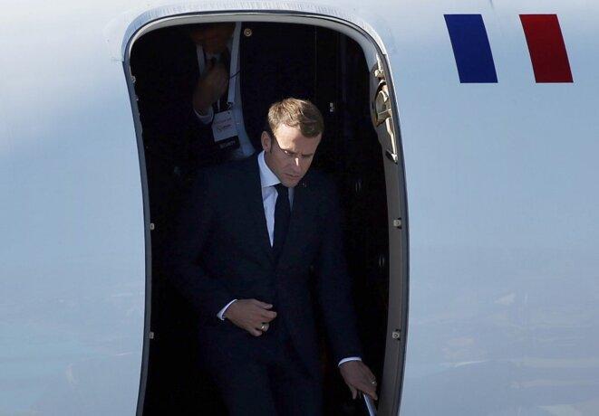 Emmanuel Macron arrive à Istanbul en octobre 2018 pour un sommet sur la Syrie. © Islam Yakut/ANADOLU/AFP