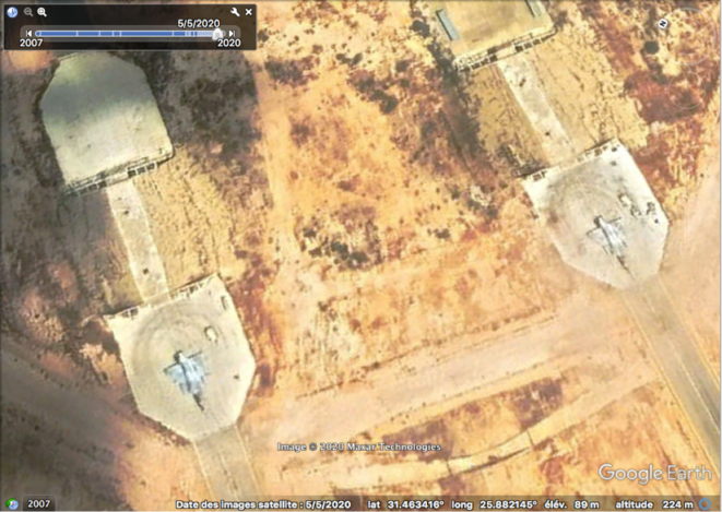 Two UAE Mirage fighters pictured at the Sidi Barrani base in Egypt on May 5th 2020. © Satellite image © 2020 Maxar Technologies