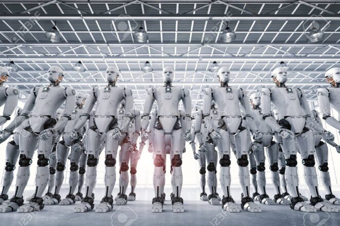 armee-de-robot-de-rendu-3d-ou-groupe-de-cyborgs-en-usine