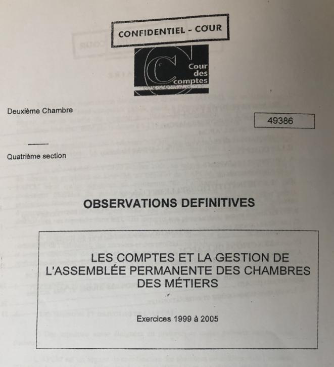Première page du rapport confidentiel de la Cour des comptes. © Document Mediapart
