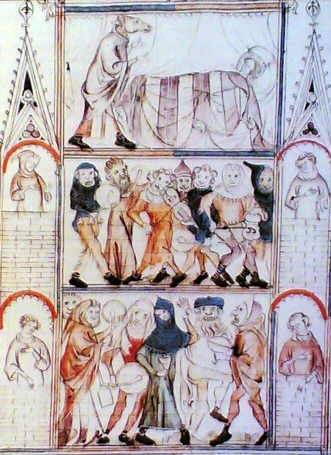 """« Charivari pour les noces de Fauvel » (détail), """"Roman de Fauvel"""", Paris, vers 1320, BNF, Fr. 146, fol. 34."""